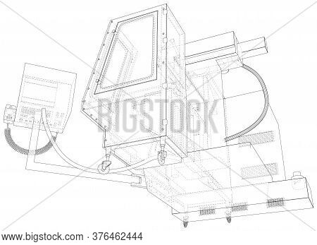 Cnc Lathe Machine In Outline Style. Wire-frame Line Isolated. Vector Rendering Of 3d