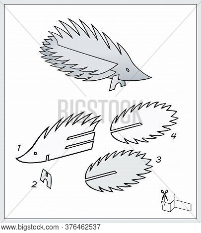 Porcupine From Pieces Of Paper. Complex Form With Blueprint Template