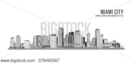 Cityscape Building Abstract Simple Shape And Modern Style Art Vector Design - Miami City