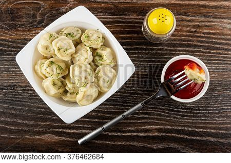 White Glass Bowl With Meat Dumplings And Dill, Pepper Shaker, Dumpling Strung On Fork On Bowl With K