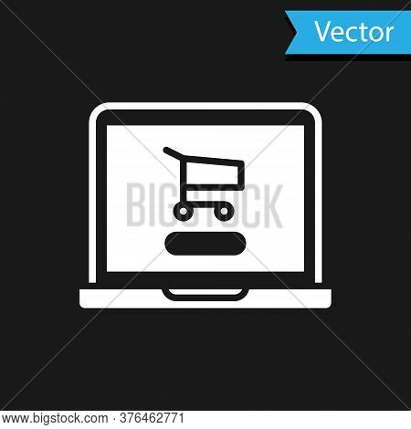 White Shopping Cart On Screen Laptop Icon Isolated On Black Background. Concept E-commerce, E-busine