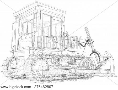 Large Bulldozer. Vector Wire-frame Isolated Excavator On Background. Vector Rendering Of 3d