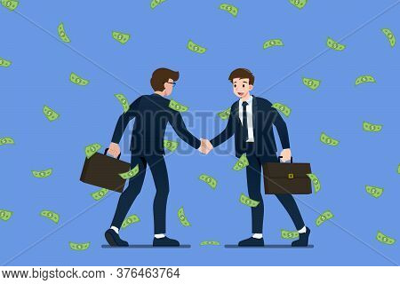 Successful Businessman Shaking Hands. Business People Making Success Deal About Money Investment Con