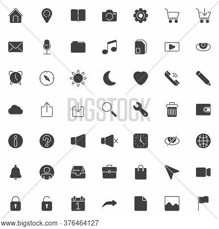 Basic Ui Vector Icons Set, Modern Solid Symbol Collection, Filled Style Pictogram Pack. Signs, Logo