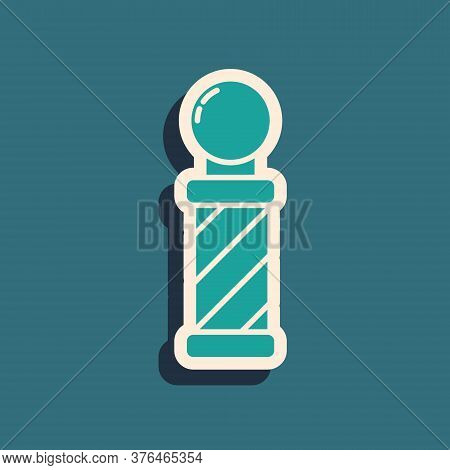 Green Classic Barber Shop Pole Icon Isolated On Green Background. Barbershop Pole Symbol. Long Shado