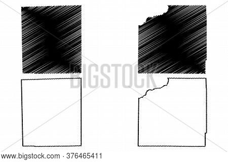 Henry And Iroquois County, Illinois (u.s. County, United States Of America, Usa, U.s., Us) Map Vecto