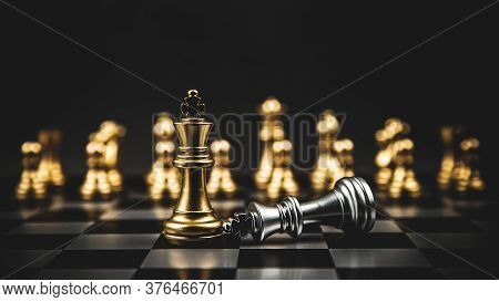 King Golden Chess Standing Of The Falling Silver On Chess Board Concepts Of Leadership And Business
