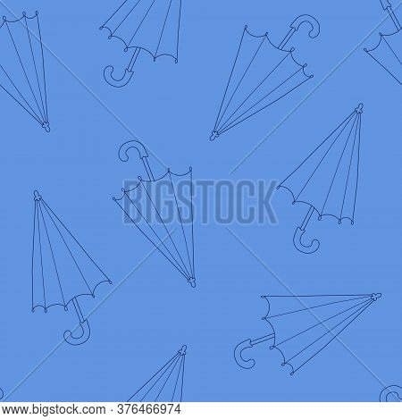 Simple Vector Outline Umbrella Repeat Pattern In Hand Drawn Doodle Style, Rainy Weather Seasonal Aut