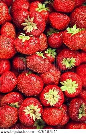 Strawberry Texture. Background With Red Strawberries. Pattern With Red Berries