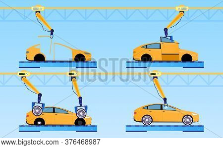 Car Factory Concept. Automatic Line Assembly Car. Conveyor Production. Automatic Factory. Car Produc