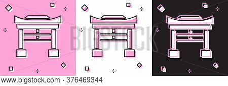 Set Japan Gate Icon Isolated On Pink And White, Black Background. Torii Gate Sign. Japanese Traditio