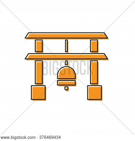 Orange Japan Gate Icon Isolated On White Background. Torii Gate Sign. Japanese Traditional Classic G