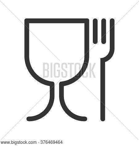 Safe Food Graphic Icon. Symbol Safety Materials Contacting With Food. Wine Glass And Fork Abstract S