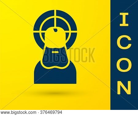 Blue Jesus Christ Icon Isolated On Yellow Background. Vector Illustration