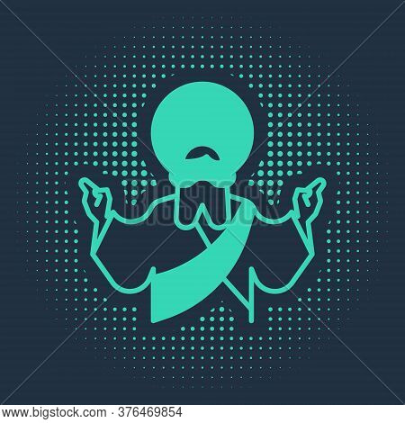Green Jesus Christ Icon Isolated On Blue Background. Abstract Circle Random Dots. Vector Illustratio