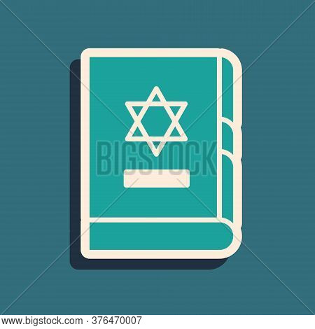 Green Jewish Torah Book Icon Isolated On Green Background. On The Cover Of The Bible Is The Image Of