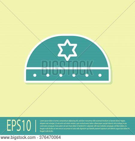 Green Jewish Kippah With Star Of David Icon Isolated On Yellow Background. Jewish Yarmulke Hat. Vect