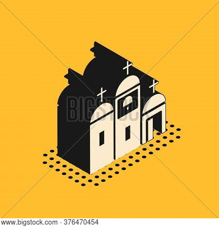 Isometric Church Building Icon Isolated On Yellow Background. Christian Church. Religion Of Church.