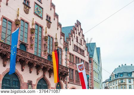 EU and Germany flags in Frankfurt, Germany.
