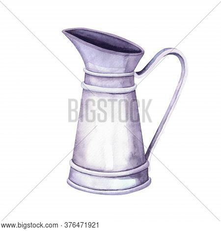 Watercolor Vintage Metal Pitcher On White Background. Farm And Garden Interior Decoration