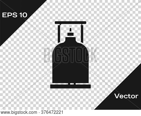 Black Camping Gas Stove Icon Isolated On Transparent Background. Portable Gas Burner. Hiking, Campin