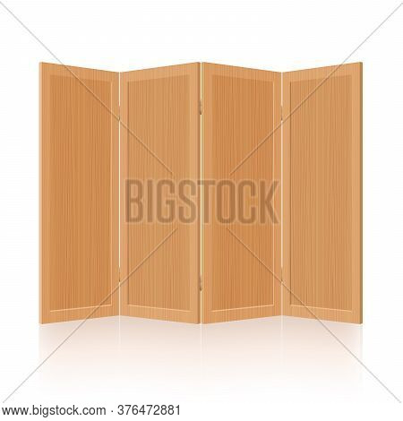 Folding Screen, Wooden Room Divider, Partition - Foldable, Mobile, Rustic, Retro Four-part Interior