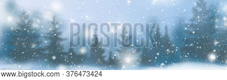 Winter Background Of Snow And Frost With Free Space For Your Decoration. Christmas Background With F