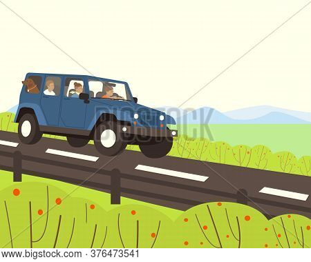 A Family With A Dog Travels By Car. The Car Goes On The Highway. In The Background, Mountains Are Vi