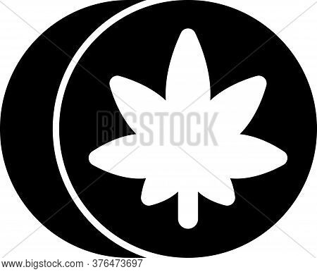 Black Herbal Ecstasy Tablets Icon Isolated On White Background. Vector Illustration