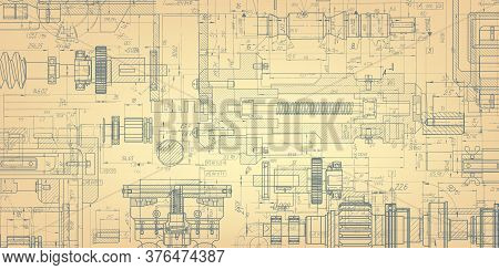 Retro Technology Drawing .engineering Plan Scheme .mechanical Engineering Drawing .computer Aided De