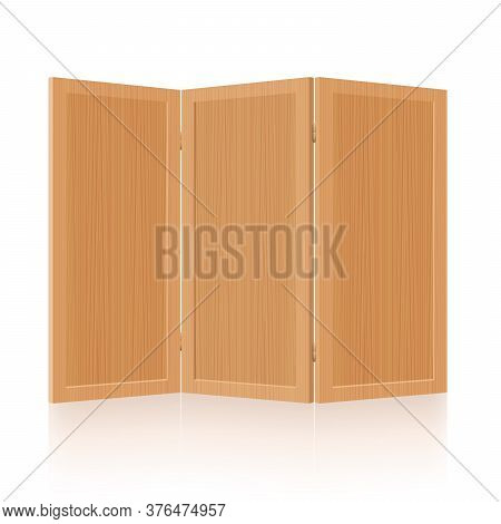 Room Divider, Folding Screen, Wooden Partition - Foldable, Mobile, Rustic, Retro Three-part Interior