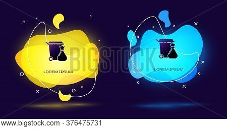 Black Trash Can And Garbage Bag Icon Isolated On Black Background. Garbage Bin Sign. Recycle Basket