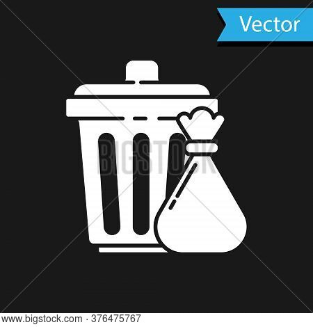 White Trash Can And Garbage Bag Icon Isolated On Black Background. Garbage Bin Sign. Recycle Basket