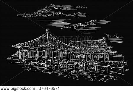 Forbidden City In Beijing, Landmark Of China. Hand Drawn Vector Sketch Illustration In White Color I