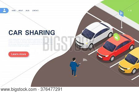 Car Sharing Concept Banner. A Man Using The Application Selects A Car In The Parking Lot For Rent.
