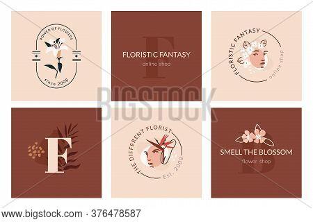 Floristic Fantasy Emblem Templates. Abstract Trendy Floristic Design. Modern Feminine And Masculine