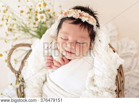 Adorable newborn sleeping in basket with toy