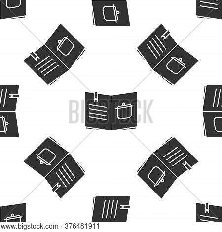 Grey Cookbook Icon Isolated Seamless Pattern On White Background. Cooking Book Icon. Recipe Book. Fo