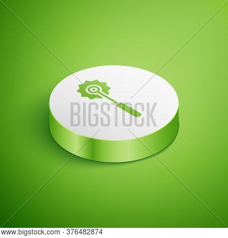 Isometric Pizza Knife Icon Isolated On Green Background. Pizza Cutter Sign. Steel Kitchenware Equipm