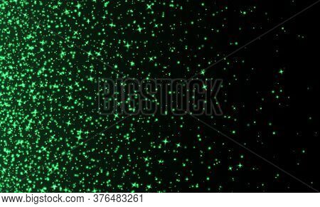 Green Sparkles, Abstract Luminous Particles, Sparkling Stardust On A Dark Background. Flying Christm