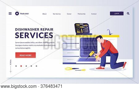 Dishwasher Machine Repair Service. Mechanic Or Plumber Worker Fixes Kitchen Electrical Equipment. Ve