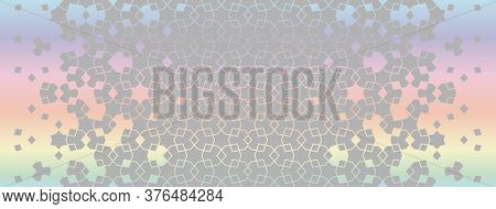 Raibow And Grey Seamless Geometric Hologram Pattern. Arabian Vector Background Of Modern Card For In