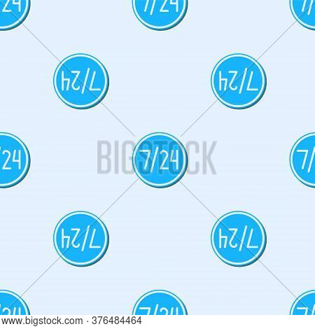 Blue Line Clock 24 Hours Icon Isolated Seamless Pattern On Grey Background. All Day Cyclic Icon. 24