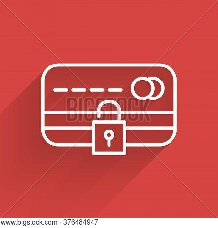 White Line Credit Card With Lock Icon Isolated With Long Shadow. Locked Bank Card. Security, Safety,