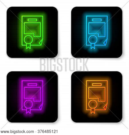 Glowing Neon Line Certificate Template Icon Isolated On White Background. Achievement, Award, Degree
