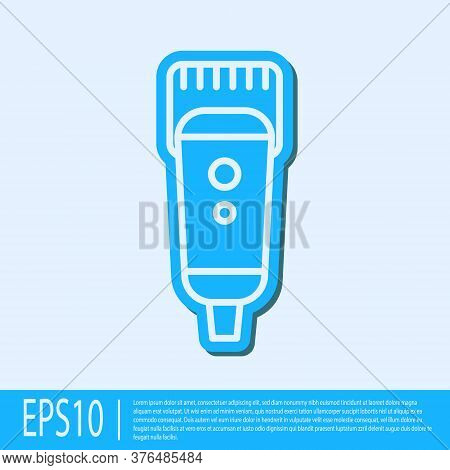 Blue Line Electrical Hair Clipper Or Shaver Icon Isolated On Grey Background. Barbershop Symbol. Vec