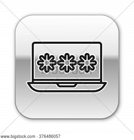 Black Line Laptop With Password Notification Icon Isolated On White Background. Security, Personal A