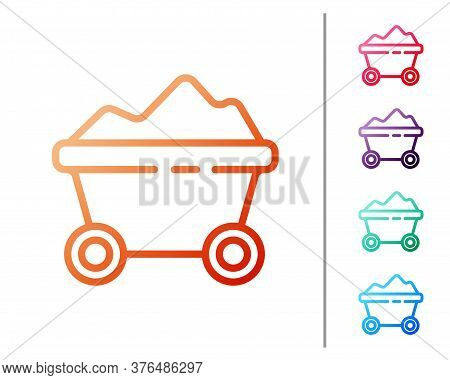 Red Line Coal Mine Trolley Icon Isolated On White Background. Factory Coal Mine Trolley. Set Color I