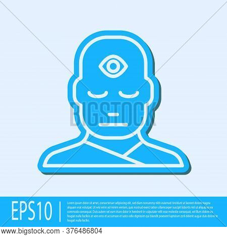 Blue Line Man With Third Eye Icon Isolated On Grey Background. The Concept Of Meditation, Vision Of