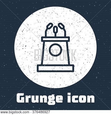 Grunge Line Stage Stand Or Debate Podium Rostrum Icon Isolated On Grey Background. Conference Speech